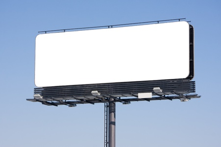 advertising text: Blank billboard on blue sky ready for your advertisement