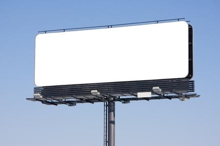 billboard advertising: Blank billboard on blue sky ready for your advertisement