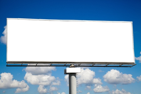 publicity: Blank billboard on blue sky for your advertisement Stock Photo