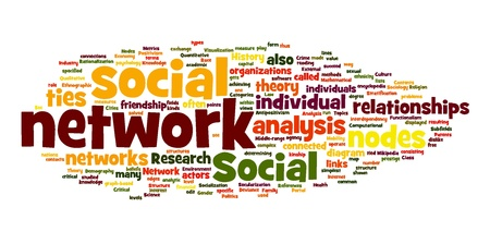 Social networking concept in word tag cloud