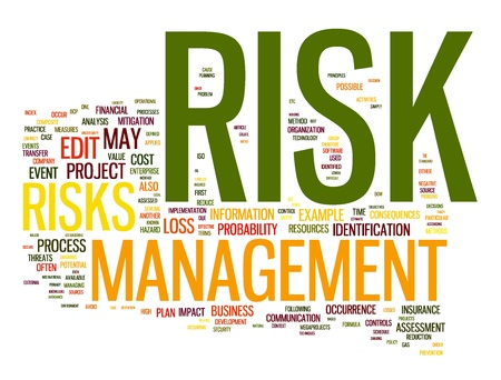 Risk management in word tag cloud photo
