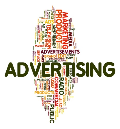 media advertising: Advertising word concept in tag cloud on white background Stock Photo