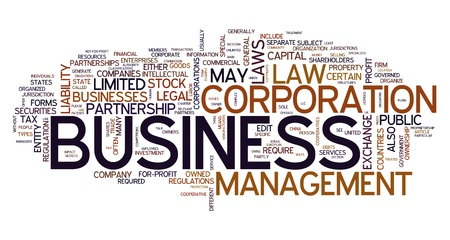 business law: Business word concept in tag cloud Stock Photo