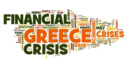 dept: Financial crisis in Greece concept in word tag cloud Stock Photo