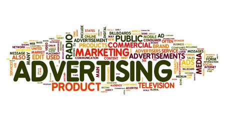 Advertising word concept in tag cloud on white background photo