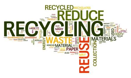 reciclar: Concepto de reciclaje en la nube de etiquetas de palabra