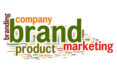 Brand concept in word tag cloud on white background photo