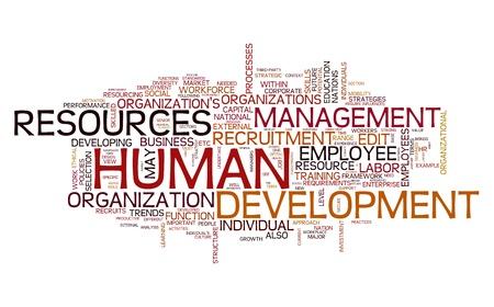 recursos humanos: Recursos humanos concepto de desarrollo en la nube de palabra de la etiqueta