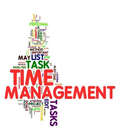 gestion del tiempo: Concepto de gesti�n de tiempo en la nube de etiquetas de palabra