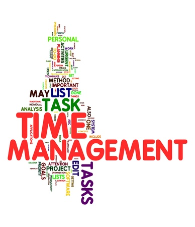 Time management concept in word tag cloud photo