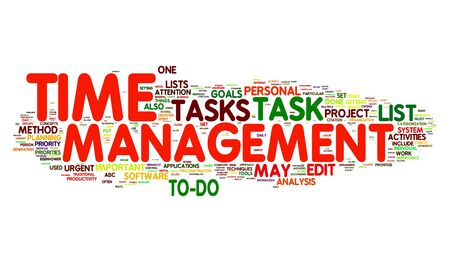 prioritizing: Time management concept in word tag cloud
