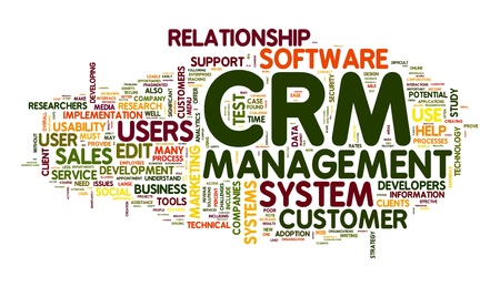Customer Relationship Management System CRM in word tag cloud Stock Photo