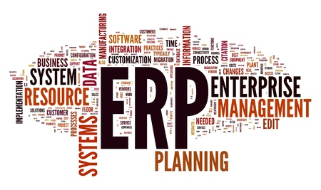 Enterprise Resource Planning System CRM in word tag cloud photo