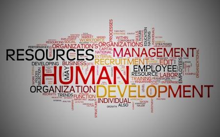 recursos humanos: Concepto de desarrollo de recursos humanos en la nube de etiquetas de palabra Foto de archivo