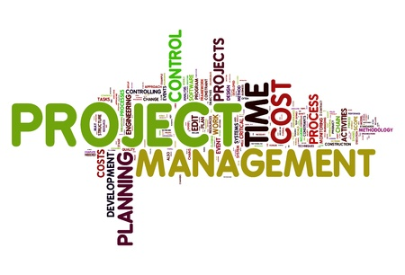 Project management concept in word tag cloud photo