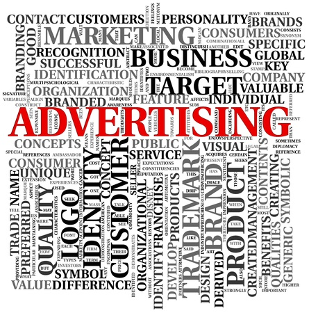 media advertising: Advertising and brand related words in word tag cloud