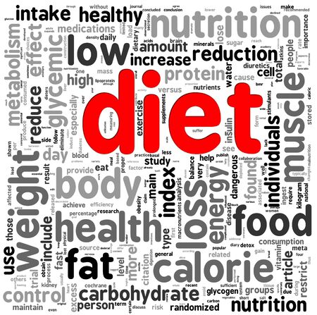 metabolic: Diet related words concept in tag cloud Stock Photo