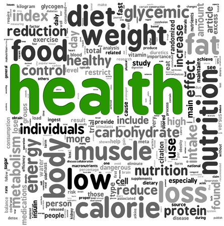 health and fitness: Health related words concept in tag cloud