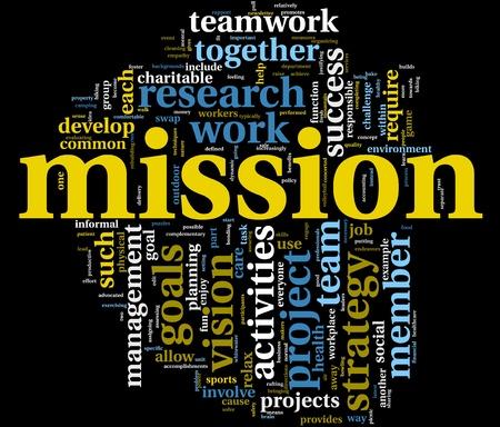 mision: Concepto de gesti�n de misi�n y negocios en la nube de etiquetas de palabra