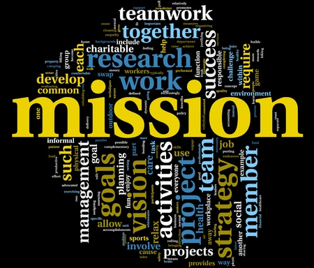 vision mission: Mission and bussiness management concept in word tag cloud