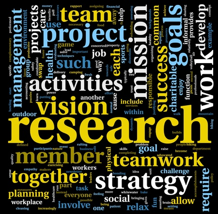 wordcloud: Research and strategy concept in word tag cloud