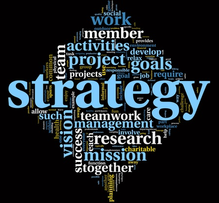 tag cloud: Strategy and management concept in word tag cloud