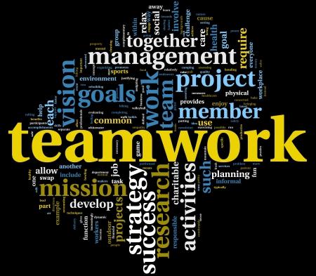 � teamwork: Concetto di strategia e lavoro di squadra in una nuvola di tag parola Archivio Fotografico