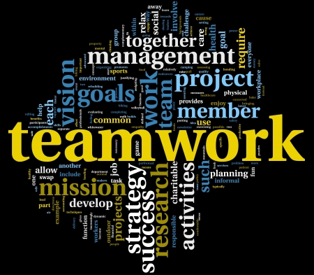 teamwork concept: Teamwork and strategy concept in word tag cloud Stock Photo