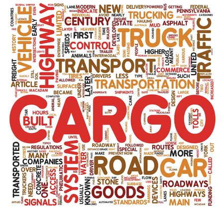 Cargo and transport concept related words in tag cloud Stock Photo