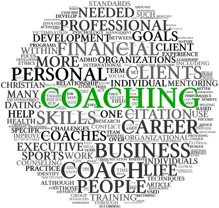 wordcloud: Coaching concept related words in tag cloud isolated on white Stock Photo