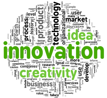 innoveren: Innovatie en creativiteit begrip met betrekking woorden in Tag-wolk