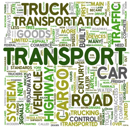 Transport and cargo concept related words in tag cloud Stock Photo