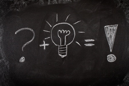 Concept of problem solving by good idea on blackboard photo