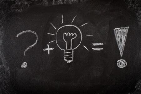 exclamation mark: Concepto de resolver los problemas por la buena idea de pizarra
