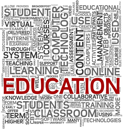 Education and learning concept in tag cloud on white background photo