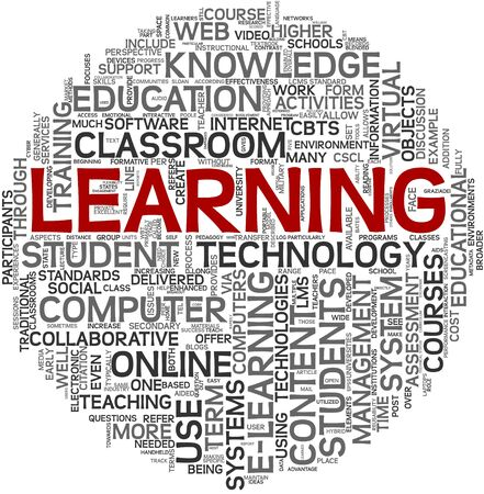 computer training: Learning concept in tag cloud on white background