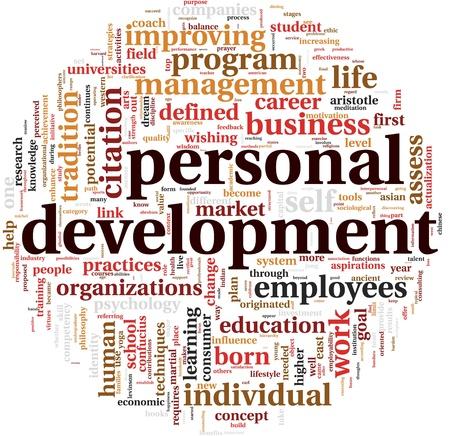 ontwikkeling: Persoonlijke ontwikkeling concept in woord tag cloud op wit