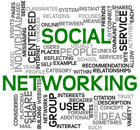 Social networking concept in tag cloud on white photo
