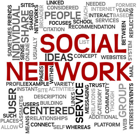 Social network concept in tag cloud on white Stock Photo - 10779556