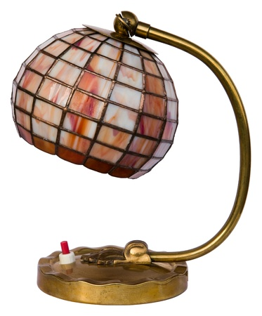 Small brown stained glass lamp isolated on white photo