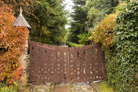 Wooden retro style gate to a house and yellow leaves Stock Photo - 10847276