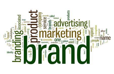 Palabras relacionadas con la marca en la nube de palabra de la etiqueta aislado en blanco Foto de archivo