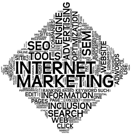 Internet marketing concept in word tag cloud isolated on white photo