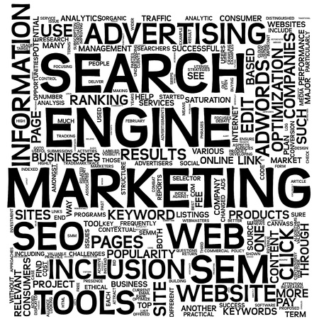 cloud search engine: Search engine marketing SEM concept in word tag cloud on white