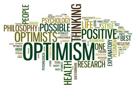 optimismo: Concepto de optimismo en la nube de palabra de la etiqueta aislado en blanco