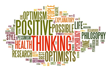 explanatory: Positive thinking concept in word tag cloud isolated on white Stock Photo
