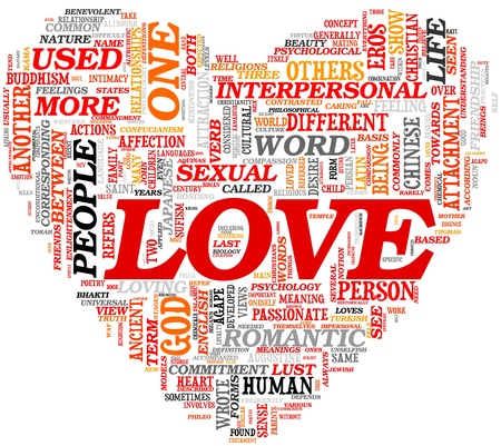 Love related words concept in tag cloud in heart shape