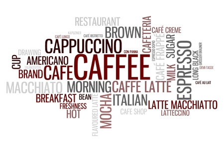 Caffee concept in word tag cloud isolated on white background Stock Photo