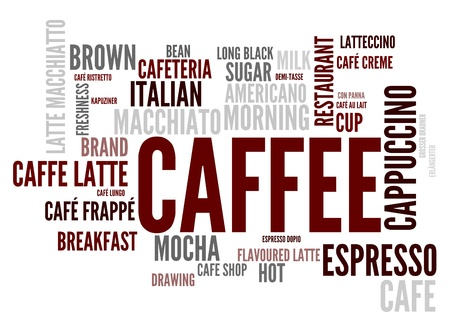Caffee concept in word tag cloud isolated on white background photo