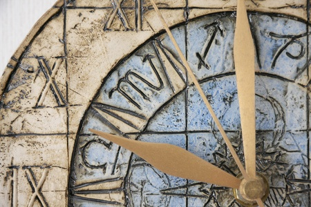 old times: Old clock close-up Stock Photo
